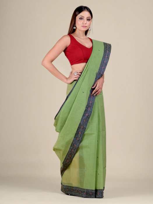 Green Cotton hand woven Tant saree with Blue border 0