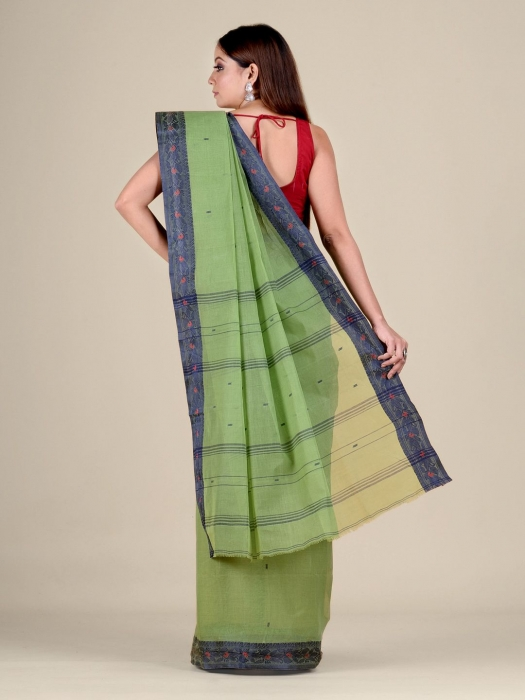 Green Cotton hand woven Tant saree with Blue border 1