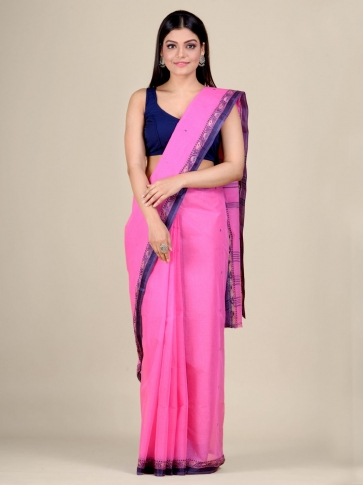 Pink Cotton hand woven Tant saree with Blue border