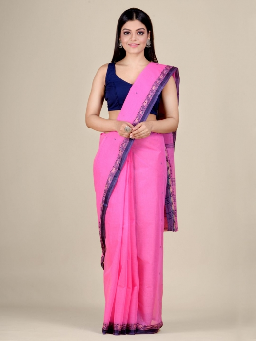 Pink Cotton hand woven Tant saree with Blue border 1