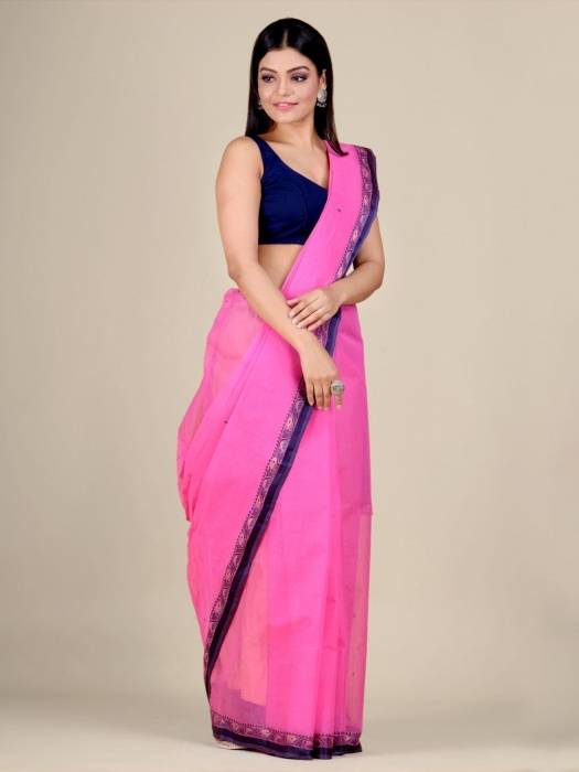 Pink Cotton hand woven Tant saree with Blue border 0