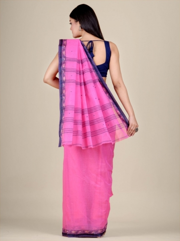 Pink Cotton hand woven Tant saree with Blue border 2