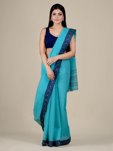 Sea Green Cotton hand woven Tant saree with Blue border 0