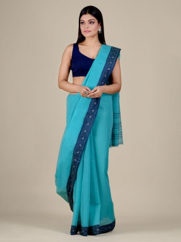Sea Green Cotton hand woven Tant saree with Blue border