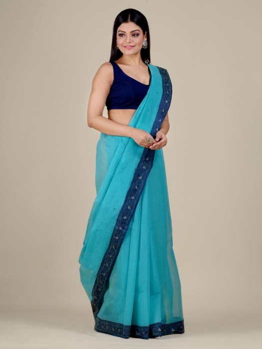 Sea Green Cotton hand woven Tant saree with Blue border 1