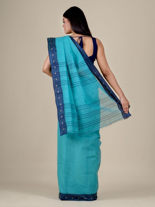 Sea Green Cotton hand woven Tant saree with Blue border 2