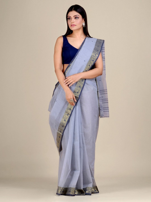 Ash Cotton hand woven Tant saree with Golden border