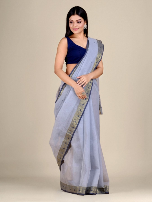 Ash Cotton hand woven Tant saree with Golden border 0