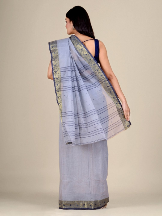 Ash Cotton hand woven Tant saree with Golden border 1