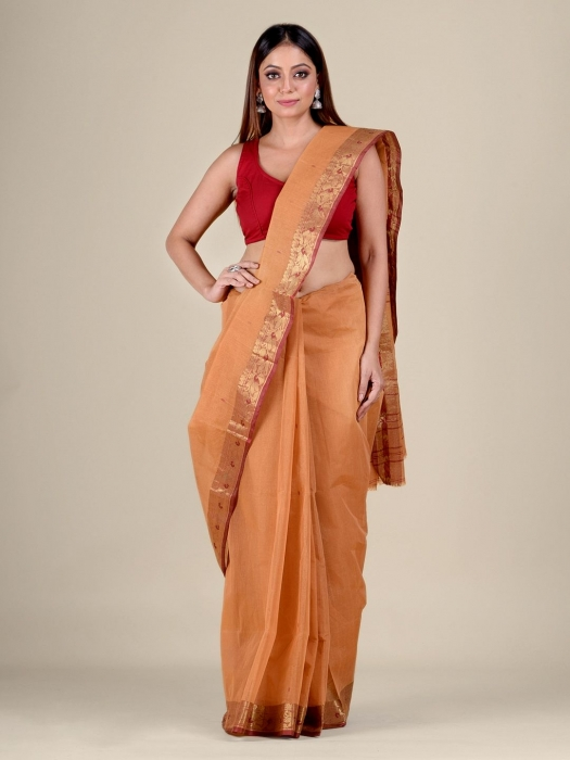 Orange Cotton hand woven Tant saree with Red border