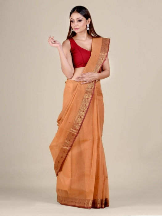 Orange Cotton hand woven Tant saree with Red border 1