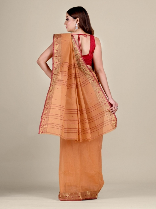 Orange Cotton hand woven Tant saree with Red border 0