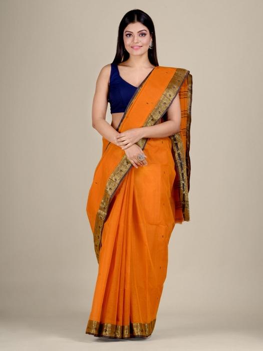 Orange Cotton hand woven Tant saree with Golden border