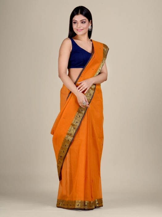 Orange Cotton hand woven Tant saree with Golden border 0