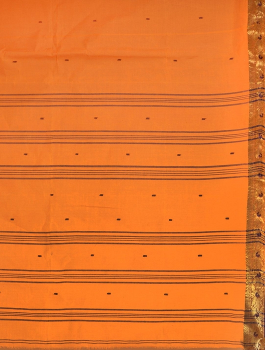 Orange Cotton hand woven Tant saree with Golden border 2