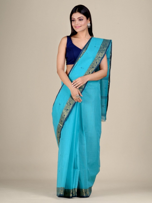 Blue Cotton hand woven Tant saree with Golden border