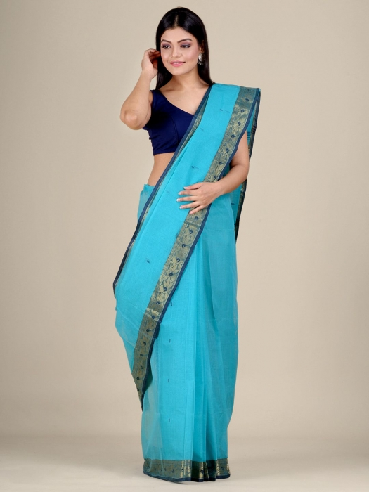 Blue Cotton hand woven Tant saree with Golden border 1