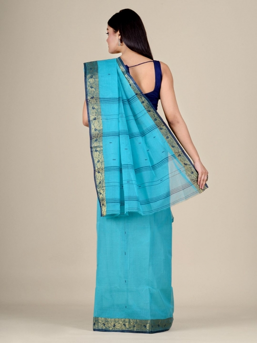 Blue Cotton hand woven Tant saree with Golden border 0