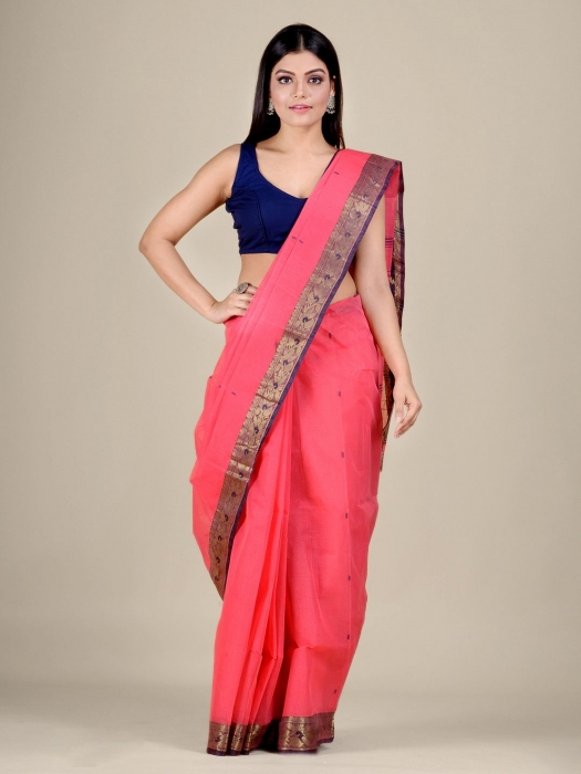 Pink Cotton hand woven Tant saree with Golden border