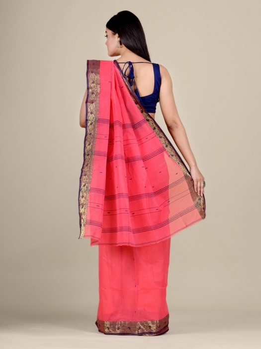 Pink Cotton hand woven Tant saree with Golden border 1