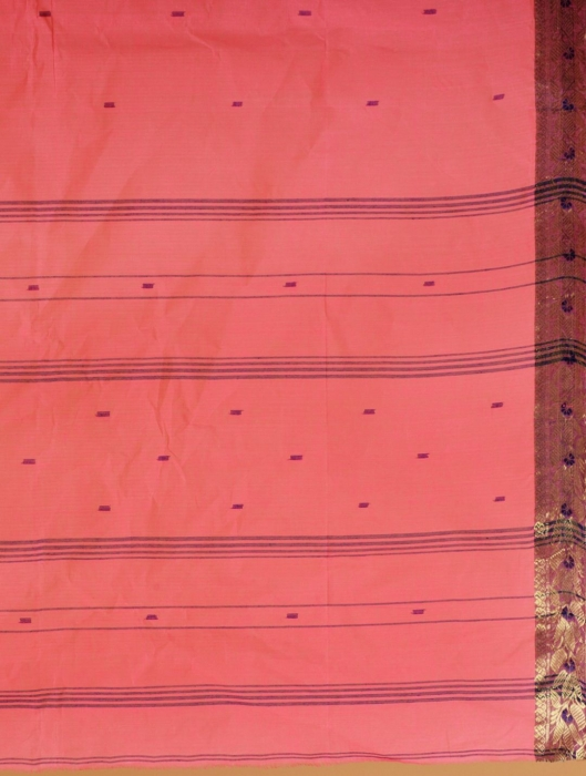 Pink Cotton hand woven Tant saree with Golden border 2