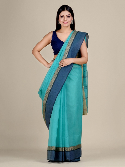 Sea Green Cotton hand woven Tant saree with Golden border