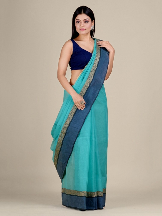 Sea Green Cotton hand woven Tant saree with Golden border 1
