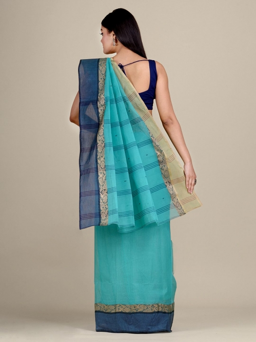 Sea Green Cotton hand woven Tant saree with Golden border 0