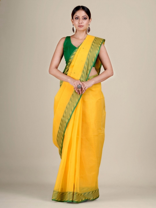 Yellow Cotton hand woven Tant saree with Green & temple border 0