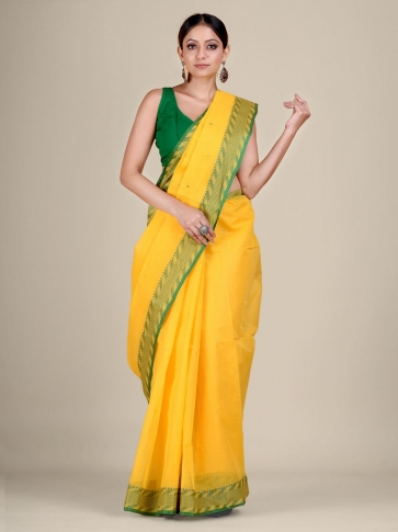 Yellow Cotton hand woven Tant saree with Green & temple border