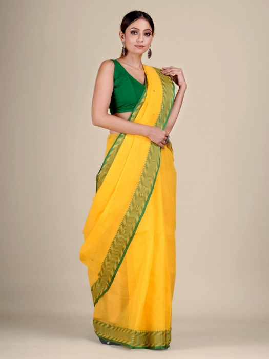 Yellow Cotton hand woven Tant saree with Green & temple border 2