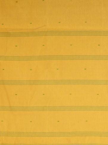 Yellow Cotton hand woven Tant saree with Green & temple border 1