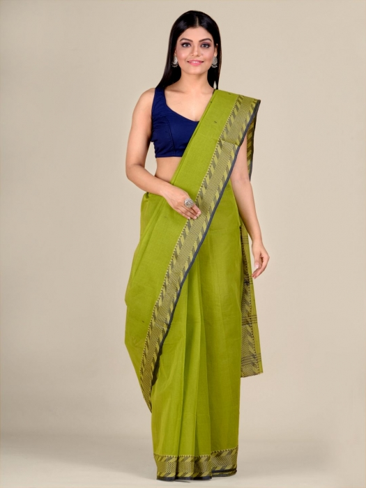 Green Cotton hand woven Tant saree with Blue & temple border
