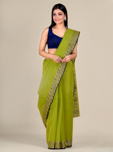 Green Cotton hand woven Tant saree with Blue & temple border 0