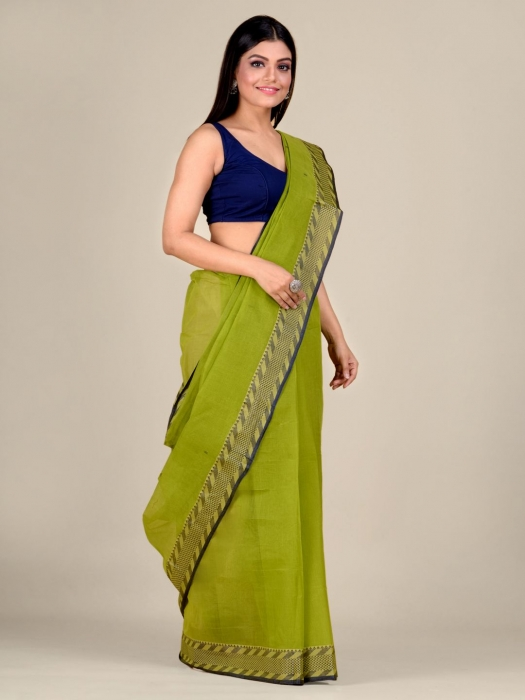 Green Cotton hand woven Tant saree with Blue & temple border 1