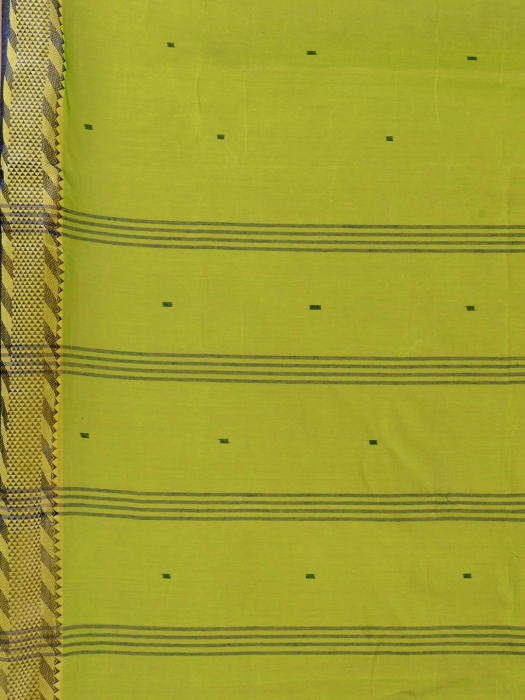 Green Cotton hand woven Tant saree with Blue & temple border 2