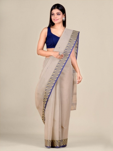 Grey Cotton hand woven Tant saree with Blue & temple border