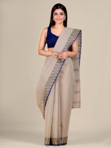 Grey Cotton hand woven Tant saree with Blue & temple border 1