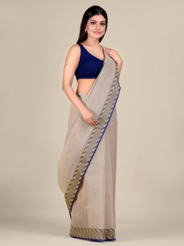 Grey Cotton hand woven Tant saree with Blue & temple border 0