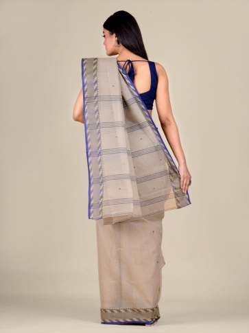 Grey Cotton hand woven Tant saree with Blue & temple border 2