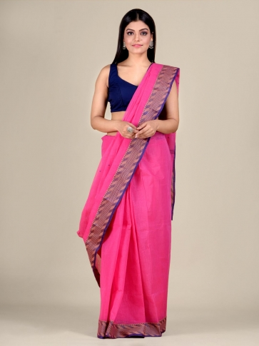 Pink Cotton hand woven Tant saree with Blue & temple border