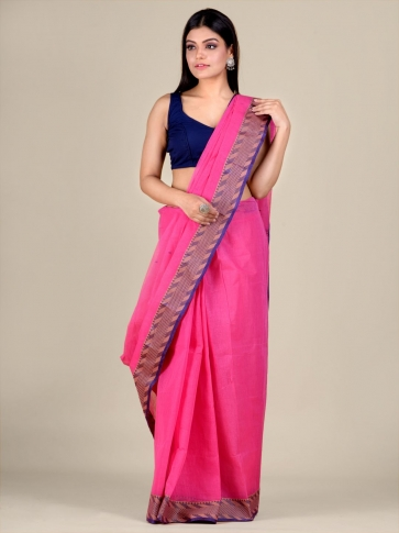Pink Cotton hand woven Tant saree with Blue & temple border 0