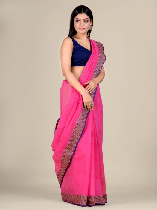 Pink Cotton hand woven Tant saree with Blue & temple border 1