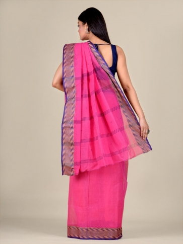 Pink Cotton hand woven Tant saree with Blue & temple border 2