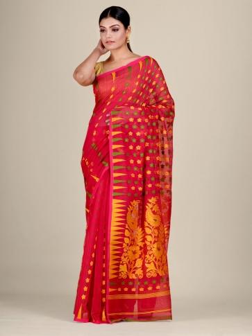 Red and Multicolor Silk Cotton handwoven soft Jamdani saree 1