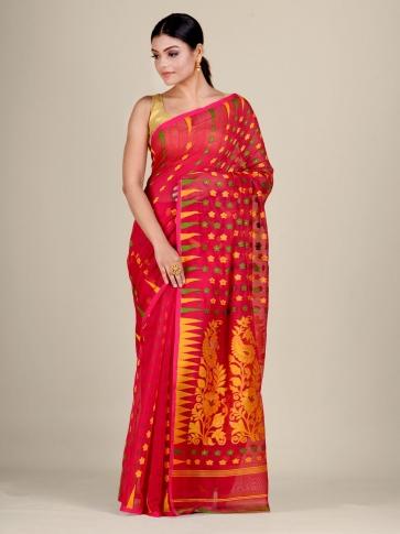 Red and Multicolor Silk Cotton handwoven soft Jamdani saree 2