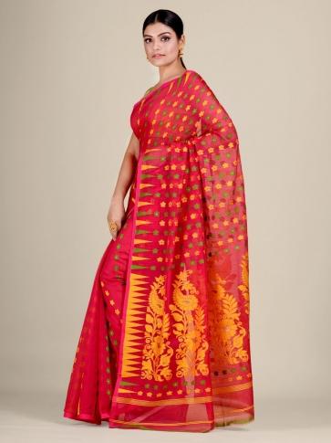 Red and Multicolor Silk Cotton handwoven soft Jamdani saree 0