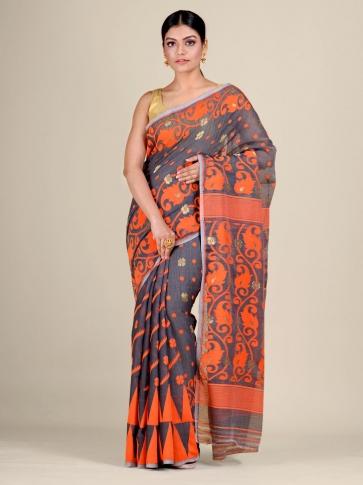 Grey and Orange Silk Cotton handwoven soft Jamdani saree