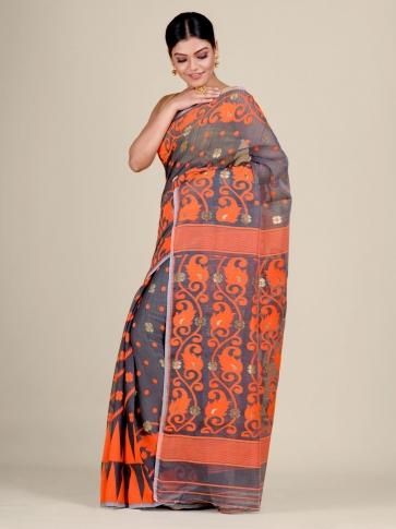 Grey and Orange Silk Cotton handwoven soft Jamdani saree 2