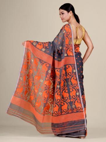 Grey and Orange Silk Cotton handwoven soft Jamdani saree 0